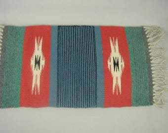 """Vintage Navajo Rug, 17 1/2 x 9 1/2"""", Hand Woven, 100% Wool With Fringed Edges, Table Topper or Wall Hanging"""