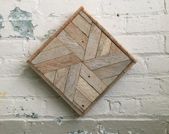 "Reclaimed Wood Wall Art 10""x 10"" Natural White"