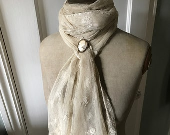 Antique Lace Lappet Collar Scarf, Tulle Lace Shawl, Lappet Scarf, Stole, Lace Wrap