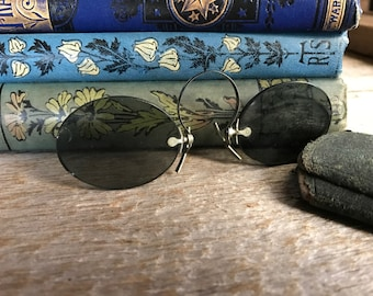 French Pince Nez Smoky Blue Sun Shades, Sun Glasses, Leather Purple Velvet Case, Spectacles, Props