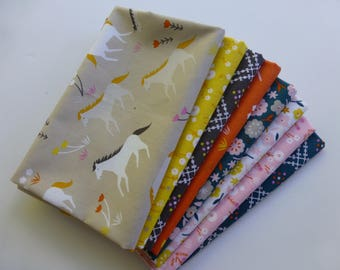 Fat Quarter Bundle, Organic Cotton Fabric - Cloud 9 Fabrics, Stay Gold, 8 Fat Quarters