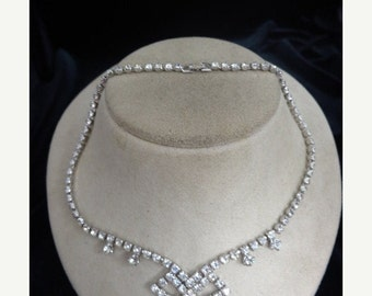 On Sale Vintage Prong Set Rhinestone Necklace Item K  #52