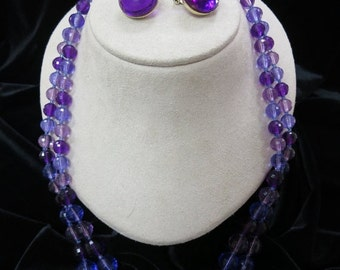 On Sale Vintage 2PC Purple Faucelet Lucite Necklace And Earring Set Item K # 1184