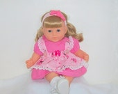Christmas Sale Baby Doll Butterfly Pinafore Dress with Polk a Dot Pink Dress-Fits 14 to 15 inches. Spring Summer Fashions