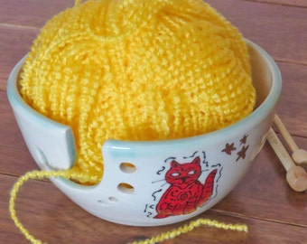 Yarn Bowl, Ceramic Knitting Bowl, Hand painted Red Cat with Gold Luster Stars