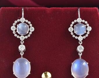 Reserved! Alluring Art Deco 9.00 Ct Sry Lanka moonstone and diamond dangle earrings
