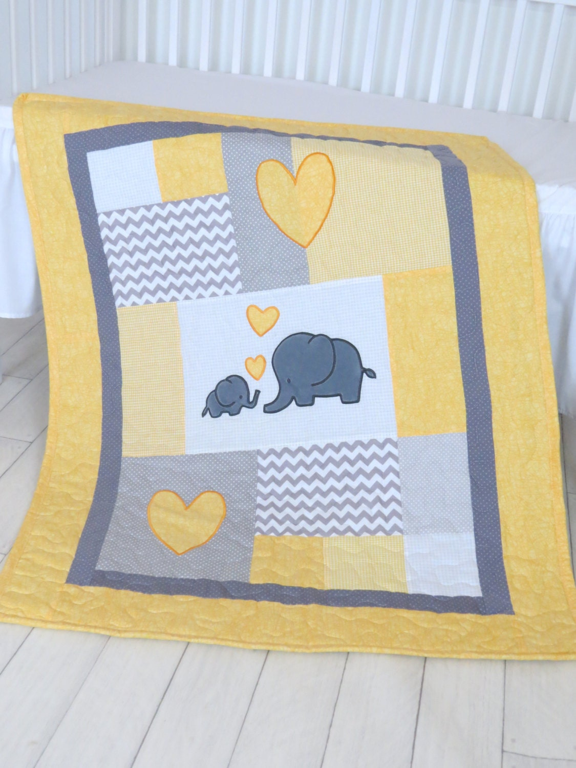 Twin Baby Quilts Elephant Crib Bedding Teal Yellow And