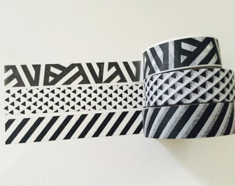 Black and White Washi Tape in 3 Patterns