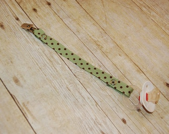 Pacifier Clip, Green with Chocolate Dots, Personalization Available, Ready to Ship
