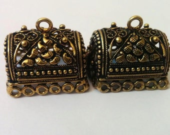 Bronze large jhumkas or Indian hanging earring bases x 2, 25mm, free combined shipping