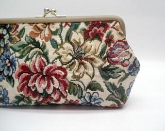 Elegant floral tapestry clutch