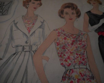 Vintage 1950's, 60's Vogue 178 Couturier Design Dress and Redingote Sewing Pattern, Size 14 Bust 34