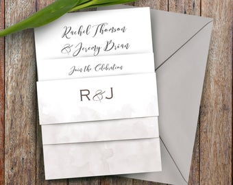 Watercolour Wedding Ceremony RSVP and Belly Band Invitation Set