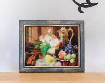 Vintage painting reproduction, Still Life with Flowers, Framed Wall Hanging