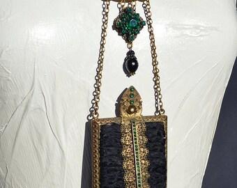 1890s Trinity Plate Dance Purse Art Nouveau Goose Brooch Statement Necklace