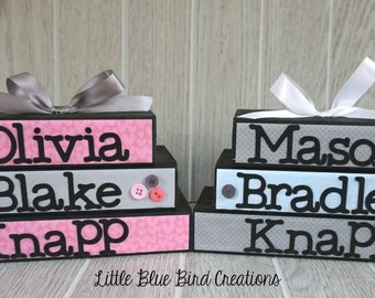 Childs name wood blocks - wood sign - personalized sign - wood letters - shelf sitter stacked blocks - birth announcement - childs sign