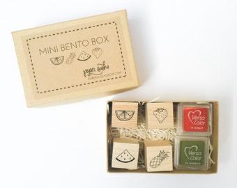 Fruit Stamp Set - Hand lettered and hand drawn set of mini fruit stamps - Paper Sushi Mini Bento Box - fruit - F0009
