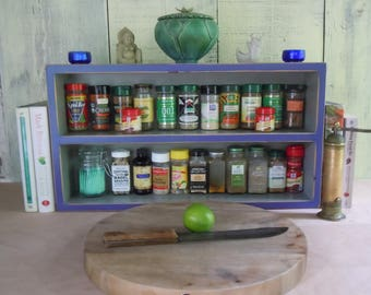 Spice Rack-Large Free Standing Spice Rack in Purple/Blue and Grey - Hand Made Rustic Furniture