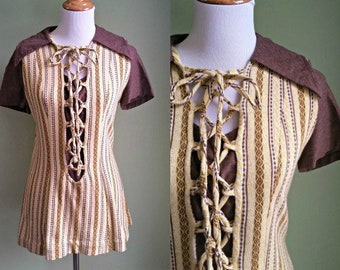 1970s Lace Up Tunic - Brown and Yellow Cozy Tunic - Medium