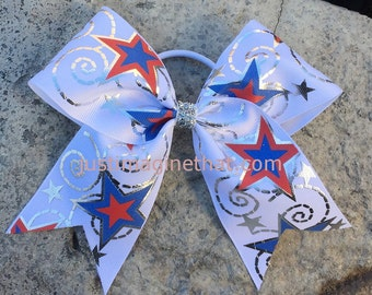 "2.25""x6""x6"" Cheer Bow Red, White, Blue Stars Swirls Foil"