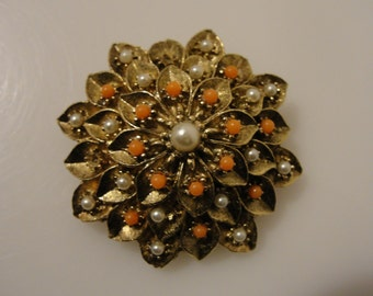 """vintage dome flower pin 1.5"""" repair or craft project flawed condition"""