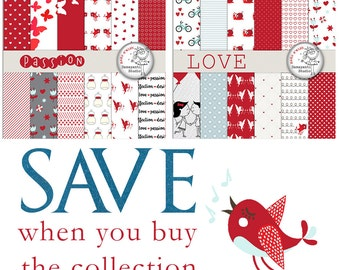 Love papers, Heart Digital Papers, Valentines Day Papers, Valentines Day Paper Pattern, Red paper, Planner Sticker, SAVE pack, SALE pack