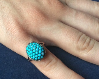 Antique Victorian Oval Turquoise & Solid 14k Yellow Gold Ring