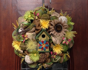 Birdhouse Spring/Summer Burlap and Mesh Wreath