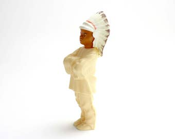 Vintage Celluloid  Native American Figure Doll, St Labre School Indian Souvenir, Plastic Toy, Plastic Indian, Epsteam