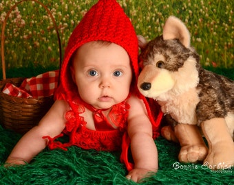 Red Riding Hood Crochet Pixie Hat - Size 6 Months - Pixie Crochet Hat - Little Red Riding Hood Hat