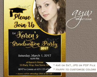 Graduation Party Invitation with Photo Printable Graduation Announcement Glitter Sparkle High School Graduation College Graduation Invites