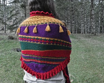 Gypsy Caravan Shawl with tassels knitting pattern - instant download - colorwork knitting