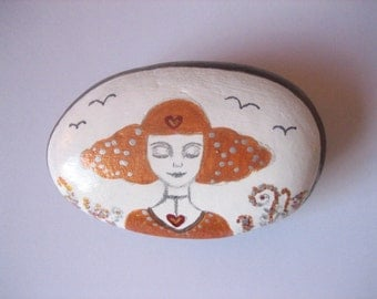 SALE! Hand painted  LARGE Goddess art stone, paperweight.