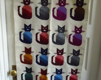 Vintage Mexican Hand Woven CATS Wall Hanging/Rug