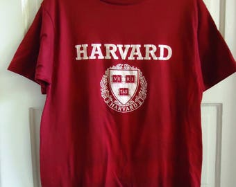 Vintage 80s HARVARD Distressed Soft T Shirt sz M