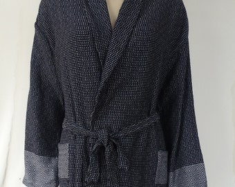 Women's XL or men's L size gray and black colour Turkish soft cotton warm dressing gown, bathrobe with no hood, swimming robe.