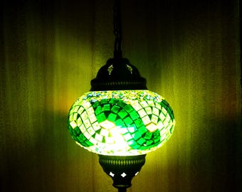 Unique handmade Turkish colourful glass authentic mosaic pendant ceiling lamp, decorative hanging lamp.