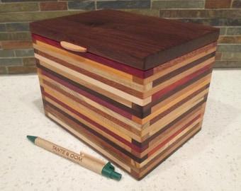 Recipe Box, Wood Box, 4 x 6 Index Card Box, Desk Organizer, Wood Box, Keepsake Box, Wood strip box, Jewelry Box, Little Wood Box