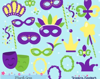 INSTANT DOWNLOAD - Mardi Gras Clipart and Vectors for personal and commercial use
