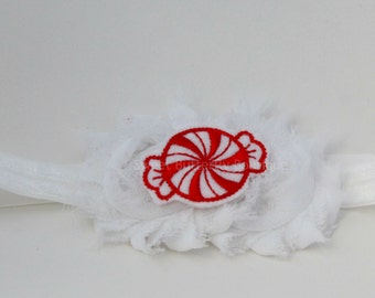 Peppermint Headband - Peppermint Candy - Candy Headband - Red and White - Shabby Headband - Infant Photos - Photography Prop - READY TO SHIP