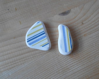 Genuine Sea pottery sea pottery shards striped sea pottery blue white yellow jewelry supplies, crafting, collectible, 2 pieces      lotto237