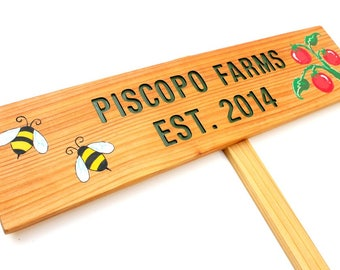 EST. YEAR Sign, Family Farm Marker, Customized Established Sign, Personalized Garden Marker, Painted Garden Sign, Custom Family Garden Sign