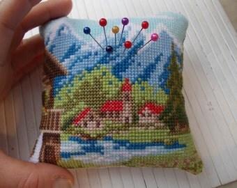 Vintage cross stitch pin