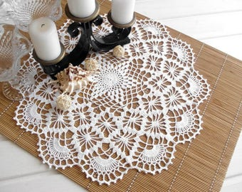 Crochet doily White doilies White lace doily Vintage decor Large crochet doily Crochet tablecloth 370