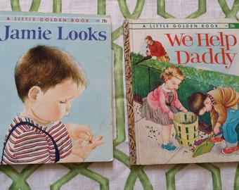 Little Golden Books We Help Daddy and Jamie Looks from the 1960s