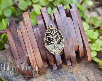Boho Tree Bracelet- handmade wire wrapped natural wooden woodland copper brass stretch jewelry