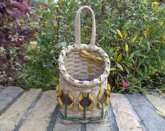 Doorknob Basket Sunflower Doorknob Basket Sunflowers Made in USA Sunflower Item Yellow Sunflowers Handwoven Basket Made in Texas