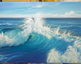 Original 24x36 Ocean Seascape Painting on Canvas by J. Mandrick