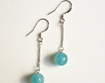 100% natural gemstone amazonite 925 sterling silver drop earrings handmade jewelry