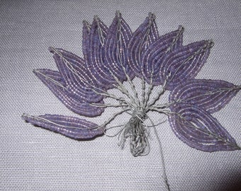 French Antique Beaded Leaves,  Glass Beads, Beading, Jewellery Making, Crafting. Amethyst, New old stock.
